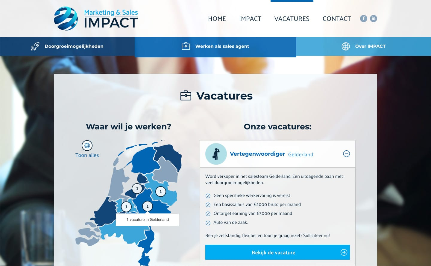 De vacaturepagina op de website van Marketing & Sales Impact