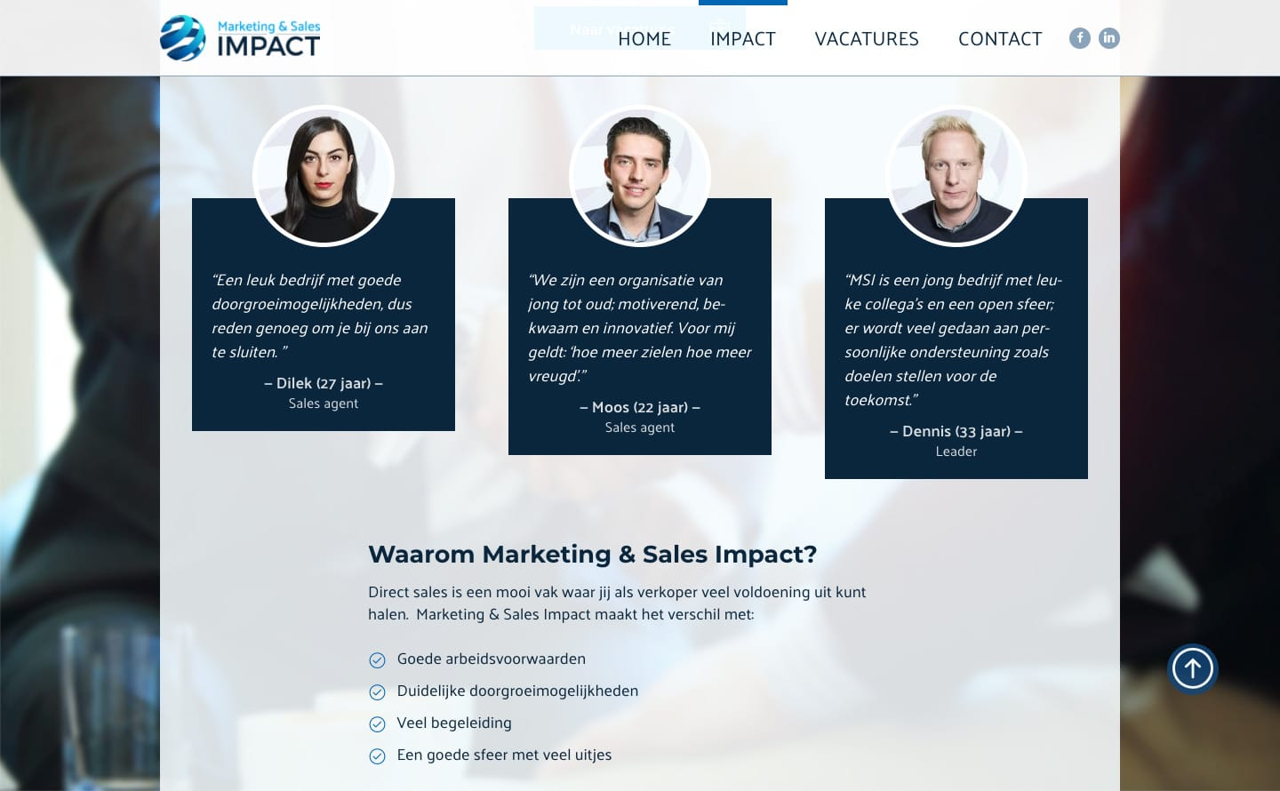 Een pagina op de website van Marketing & Sales Impact