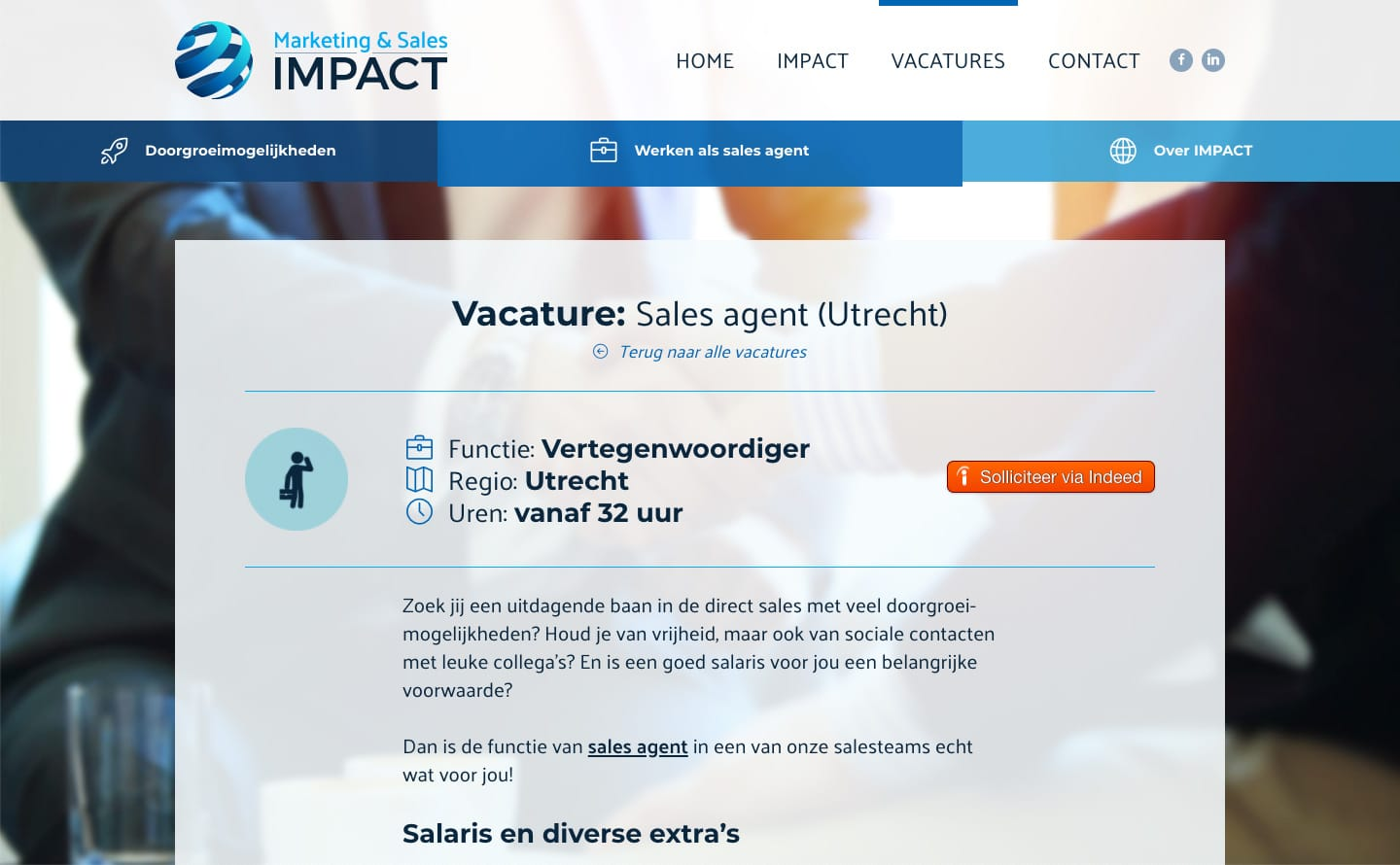 Een vacaturepagina op de website van Marketing & Sales Impact