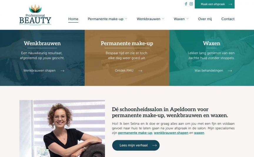 Website van Professional Beauty Apeldoorn