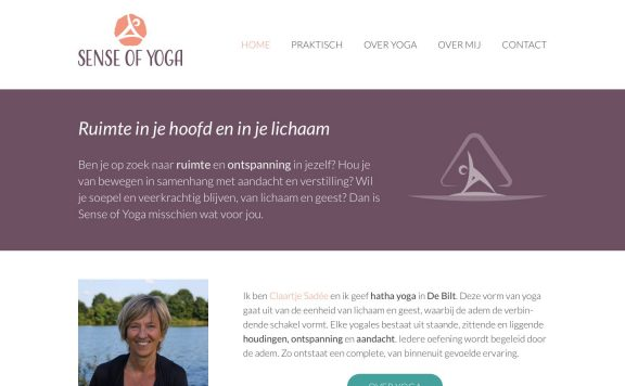 Website van Sense of Yoga